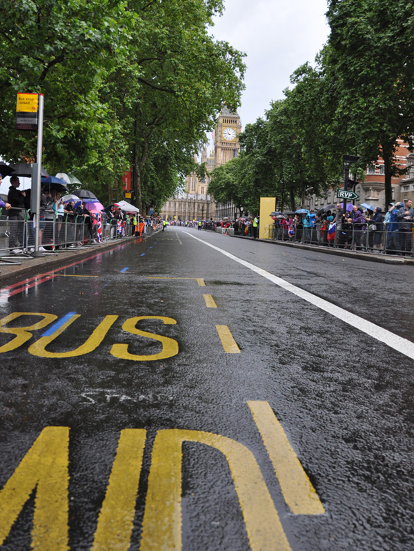 Marathon course after a heavy rain. Big Ben in the background.